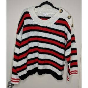 BP Button Shoulder Stripe Sweater - Size 1X - NWT